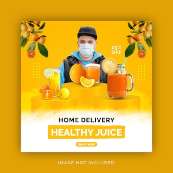 Modello di post sui social media per la consegna a domicilio con cibo sano e fresco instagram banner pubblicitario