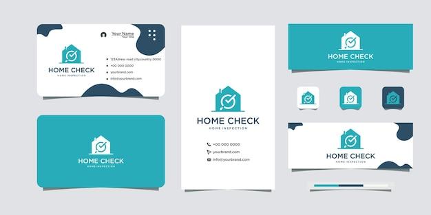 Logo di design per la casa con segno di spunta e biglietto da visita