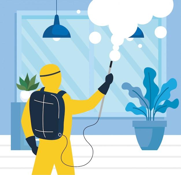 Disinfezione domestica tramite servizio di disinfezione commerciale, disinfezione lavoratore con tuta protettiva e spray per prevenire covid 19