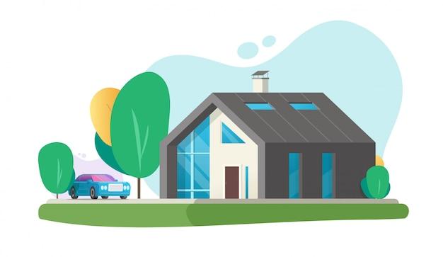 Futuro moderno di eco domestico o fumetto di lusso piano astuto contemporaneo della costruzione di architettura della casa