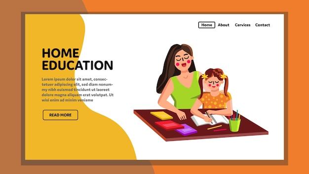 Educazione domestica madre insegnante e allievo bambino