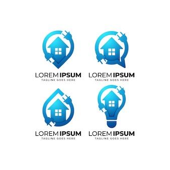Set di design del logo per l'elettricità domestica