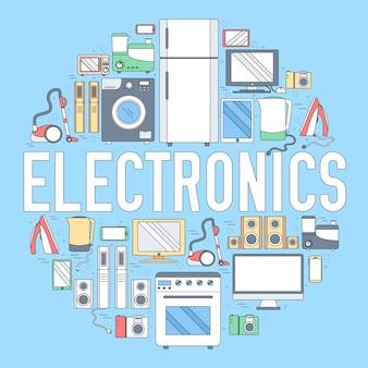 Concetto di modello di infographics cerchio elettrodomestici elettrodomestici