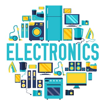 Modello di infographics del cerchio di elettrodomestici di elettronica domestica