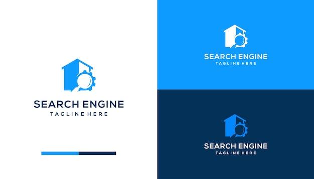 Motore di casa con ingranaggi e design del logo di ricerca