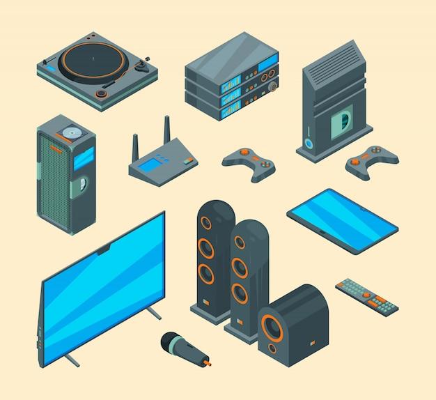 Intrattenimento domestico. raccolta elettronica di vettore di gioco della console dei sistemi di home theater del computer degli altoparlanti audio elettronici degli strumenti