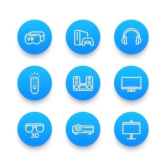 Set di icone blu lineari del sistema di intrattenimento domestico, occhiali per realtà virtuale, proiettore multimediale, 3d, altoparlanti audio, console di gioco