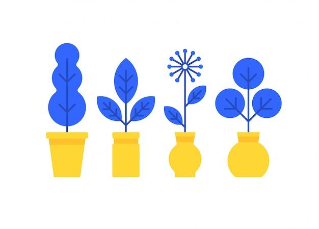 Set di icone di stile piano flants casa