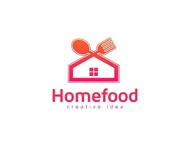 Design del logo del cibo per la casa con cucchiaio, forchetta e coltello da cucina