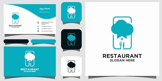 Vettore di progettazione di logo del ristorante dell'alimento domestico con il biglietto da visita del fondo del modello