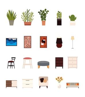 Set interni decorazione mobili per la casa