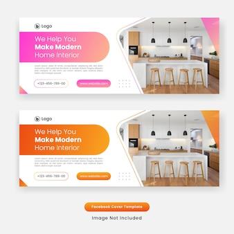 Banner di modello di copertina di facebook design mobili per la casa Vettore Premium