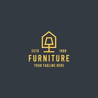 Modello dell'illustrazione del logo di simbolo di progettazione di stile piano della mobilia domestica