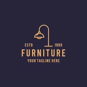 Modello dell'illustrazione del logo di simbolo di progettazione di stile di arte della linea di mobili per la casa