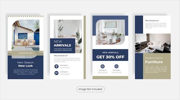 Set di banner modello di storie di social media mobili per la casa