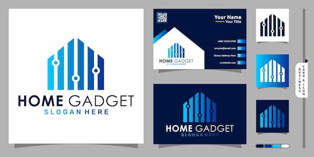 Logo gadget per la casa con tecnologia moderna e design di biglietti da visita vettore premium