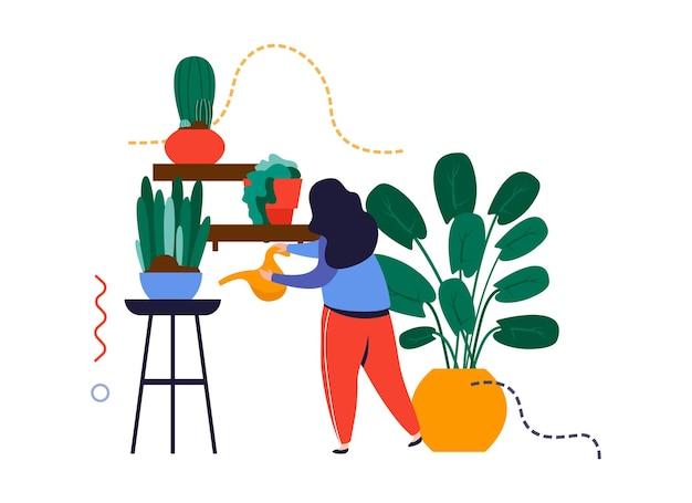 Composizione piana nel giardino domestico con il carattere della donna che innaffia i vasi da fiori con l'illustrazione di vettore delle piante