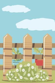 Giardino domestico piante in vaso recinzione fiori e cespuglio illustrazione