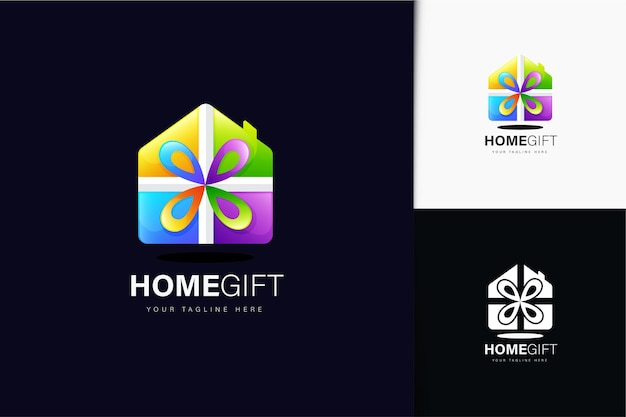 Design del logo regalo per la casa con gradiente