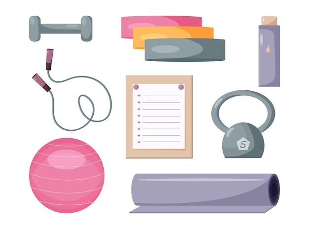 Set di strumenti per l'allenamento a casa e in palestra concetto di assistenza sanitaria attività fisica e stile di vita sano