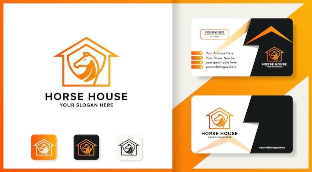 Design del logo del cavallo domestico e biglietto da visita e biglietto da visita