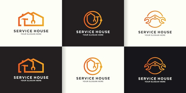 Set di design del logo per il miglioramento della casa, logo combinato per la casa, martello e chiave inglese
