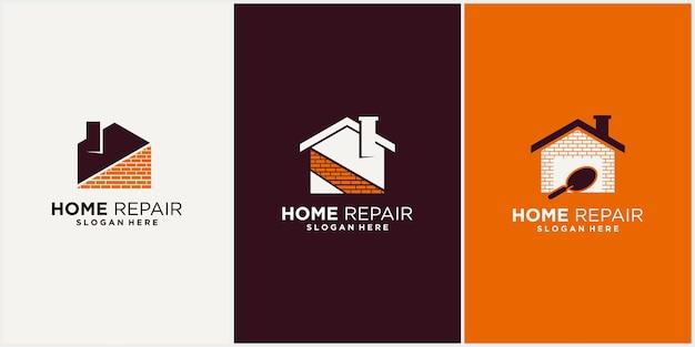 Progettazione del modello del logo per il miglioramento della casa, logo aziendale per la ristrutturazione della casa immobiliare con un elegante e lussuoso display per biglietti da visita