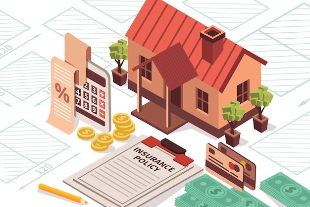 Illustrazione isometrica di assicurazione sulla casa