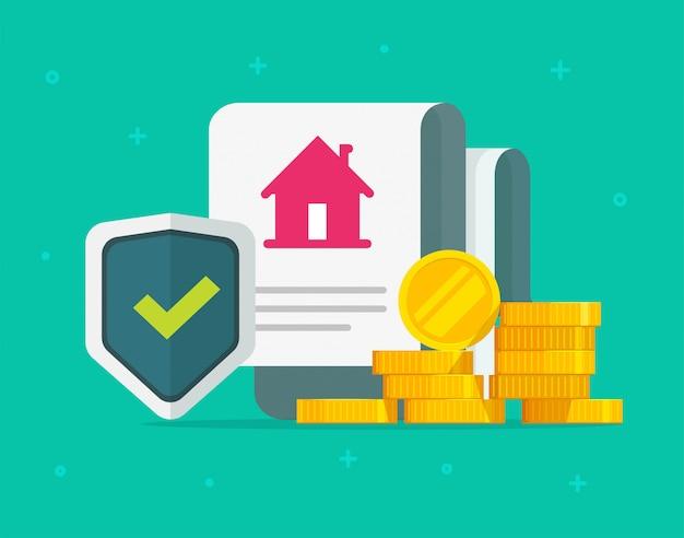 Polizza assicurativa sulla casa e documento di accordo legale sulla copertura della protezione della casa con denaro contante