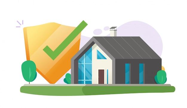 Assicurazione casa protezione di sicurezza cura o costruzione di una casa sicura assicurata e copertura scudo garanzia vettoriale piatta