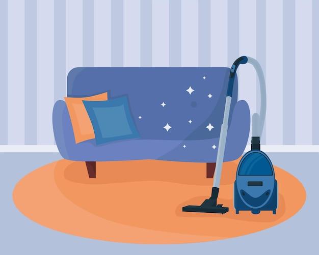 Interno della casa dopo la pulizia. sfondo. stile cartone animato