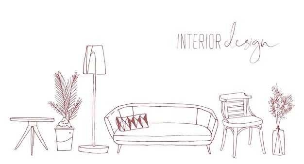Illustrazione disegnata a mano di vettore degli elementi di interior design domestico. alla moda stile retrò appartamento arredamento disegno schizzo isolato su sfondo bianco. mobili da soggiorno vintage, divano, sedia e lampada.