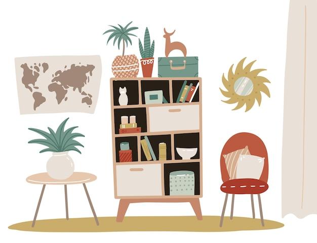 Home interior design, mobili soggiorno o corridoio. libreria isolata con ripiani e fiori decorativi in vaso. sedia morbida con cuscini, mappa, specchio. design piatto minimalista scandinavo.