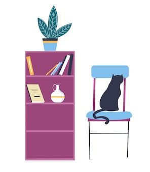 Arredamento per la casa, mobili per ufficio o soggiorno. libreria isolata con ripiani e fiore decorativo in vaso. animale domestico del gatto che si siede sulla sedia. vettore di dimora minimalista scandinavo in appartamento