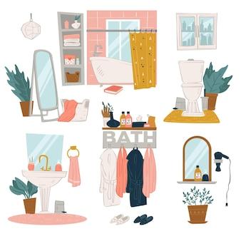 Progetti di interni per la casa di bagni, stanze con mobili e decorazioni. vasca da bagno e tende, lavabo e specchio, servizi igienici e pianta decorativa con fogliame. spogliatoio con vettore di accappatoi in appartamento