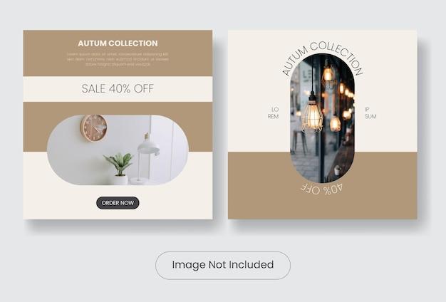Set di modelli di banner post di instagram per interni domestici