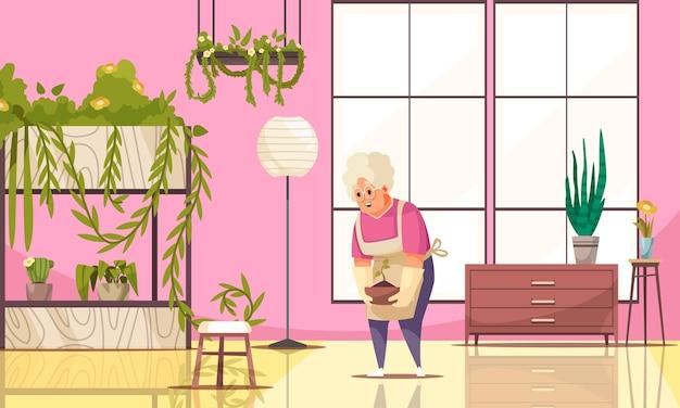Interno domestico con piante d'appartamento e donna anziana che coltiva l'illustrazione piana della pianta in vaso
