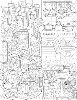 Cucina domestica scarabocchio stufa presina tavolo set da tè sala da pranzo disegno a tratteggio incolore mutiple cooking