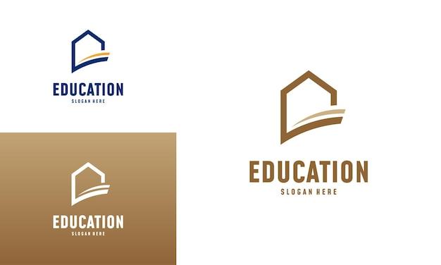 Il logo di apprendimento domestico progetta il vettore di concetto. modello di logo home education, simbolo immobiliare