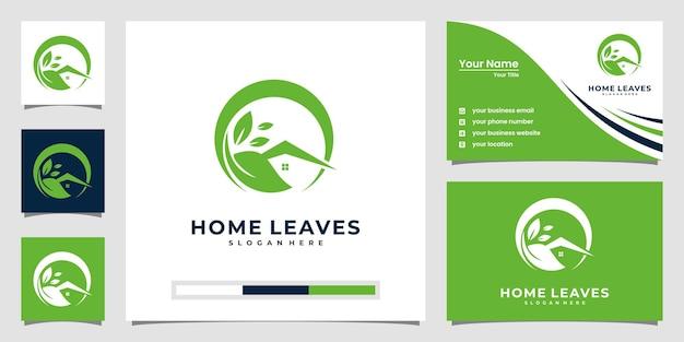 Ispirazione per il logo delle foglie di casa