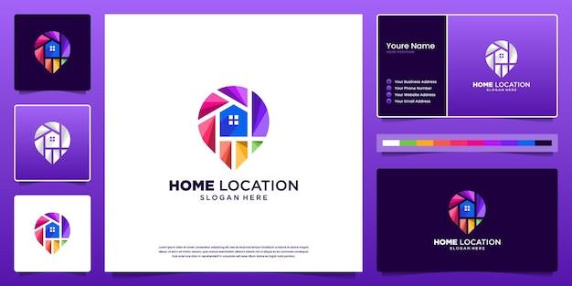 Design del logo della posizione di casa e design del biglietto da visita