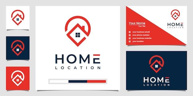 Modelli di logo della posizione di casa con stile art line e design di biglietti da visita