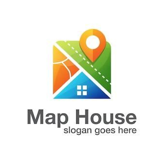 Posizione della casa con il logo della casa e dell'indicatore della mappa. immobiliare con logo pin