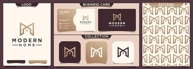 Design del logo per la casa con la lettera iniziale m.