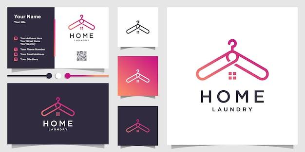 Modello di logo per la casa con concetto di gancio per vestiti e design di biglietti da visita vettore premium