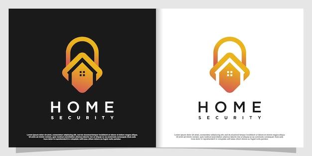 Logo domestico con concetto di sicurezza creativo vettore premium