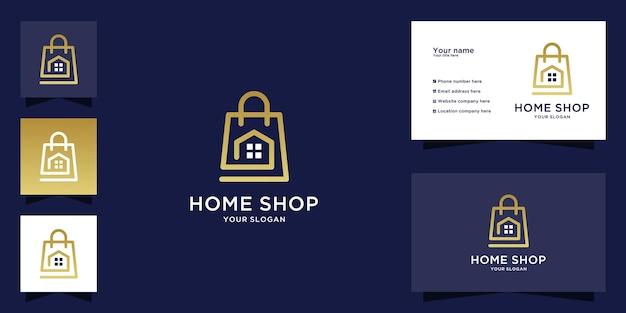 Logo della casa con design della borsa della spesa e stile di arte della linea
