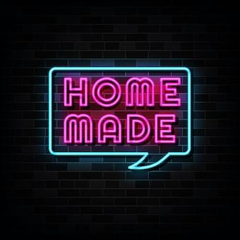 Insegna al neon fatta in casa. insegna al neon del modello di progettazione Vettore Premium