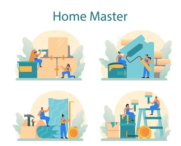Insieme di concetto del maestro domestico. riparatore che applica materiali di finitura.