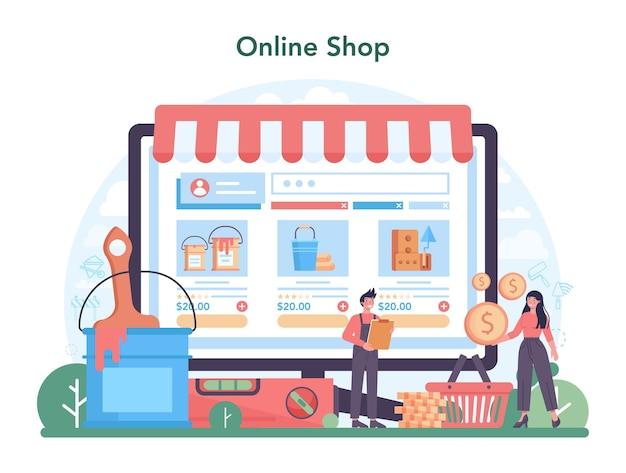 Servizio o piattaforma online per la casa master. negozio online. illustrazione vettoriale piatto isolato